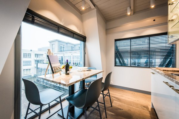 The dining area offers exceptional views.