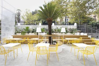 Bright yellow seating is also used to inject vibrancy within the space.