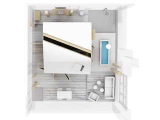 Stoke Your Imagination With This Playhouse-Like Suite in Berlin - Photo 6 of 7 - A look at the top-down view of the room.
