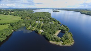 Finn Lough is located on a forested, 45-acre peninsula.