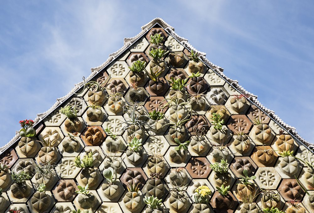 """The 3D-printed succulent tiles are made from Portland cement, sawdust, and """"chardonnay"""" pomace."""