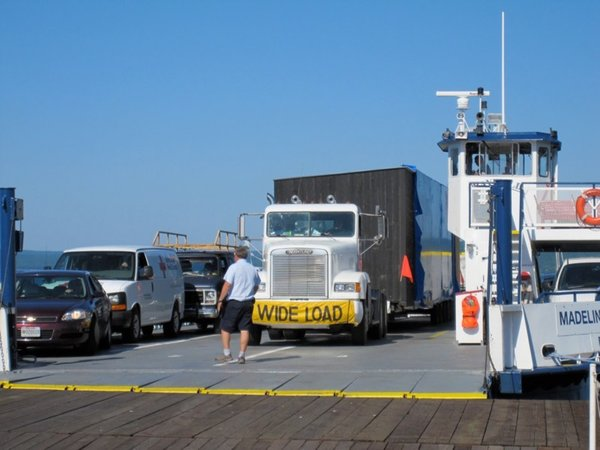 The prefabricated modules were loaded onto a truck and transported to the island via ferry.