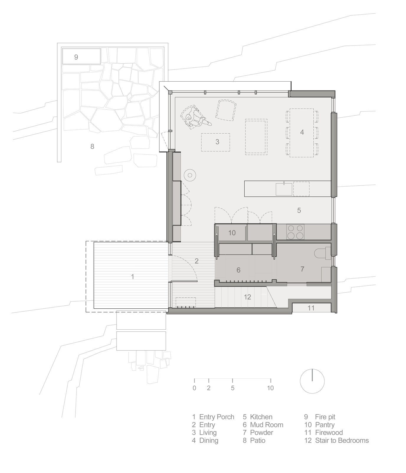 Here's the ground floor plan.  Photo 15 of 15 in This Little House in Washington Has Mighty Big Ties to Nature
