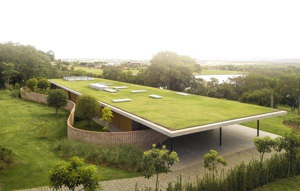 An Expansive Grass Roof Tops This Modern Brazilian Home