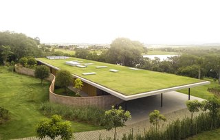 An Expansive Grass Roof Tops This Modern Brazilian Home