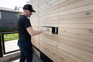 "The lockable ""storage blocks"" can be accessed from inside and outside the house."