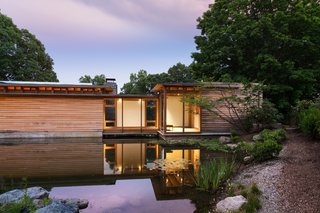 Unfinished cypress siding was chosen for its natural resiliency and durability