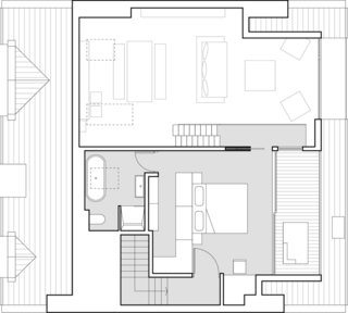Here is the floor plan for the upper mezzanine.