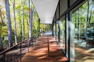 The south deck overlooks views of the forest and pond.
