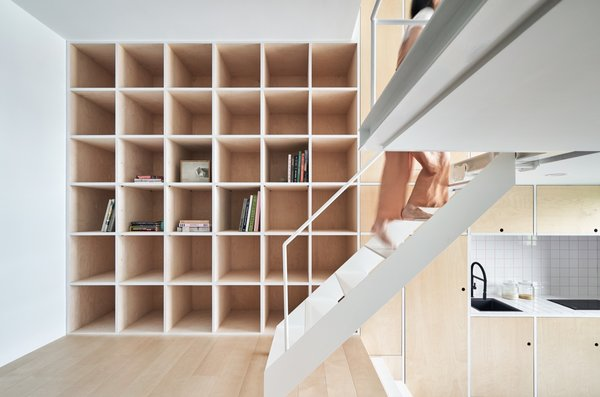 Storage takes up an entire wall in the dwelling.