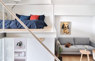 White walls and a partial double-height ceiling help lend a sense of spaciousness to the abode.
