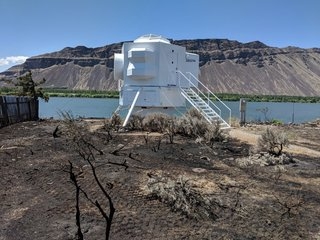 Every piece of plywood, fiberglass, and foam used on the Lunar Lander is completely epoxy encapsulated, which gives the building self-extinguishing benefits. Last month, the Lunar Lander was engulfed in a wildfire, but was left completely unscathed.