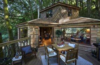 Large windows blur the boundaries between indoor and outdoor living.