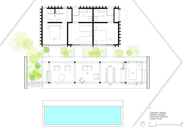 The floor plan of Casa Bambu.