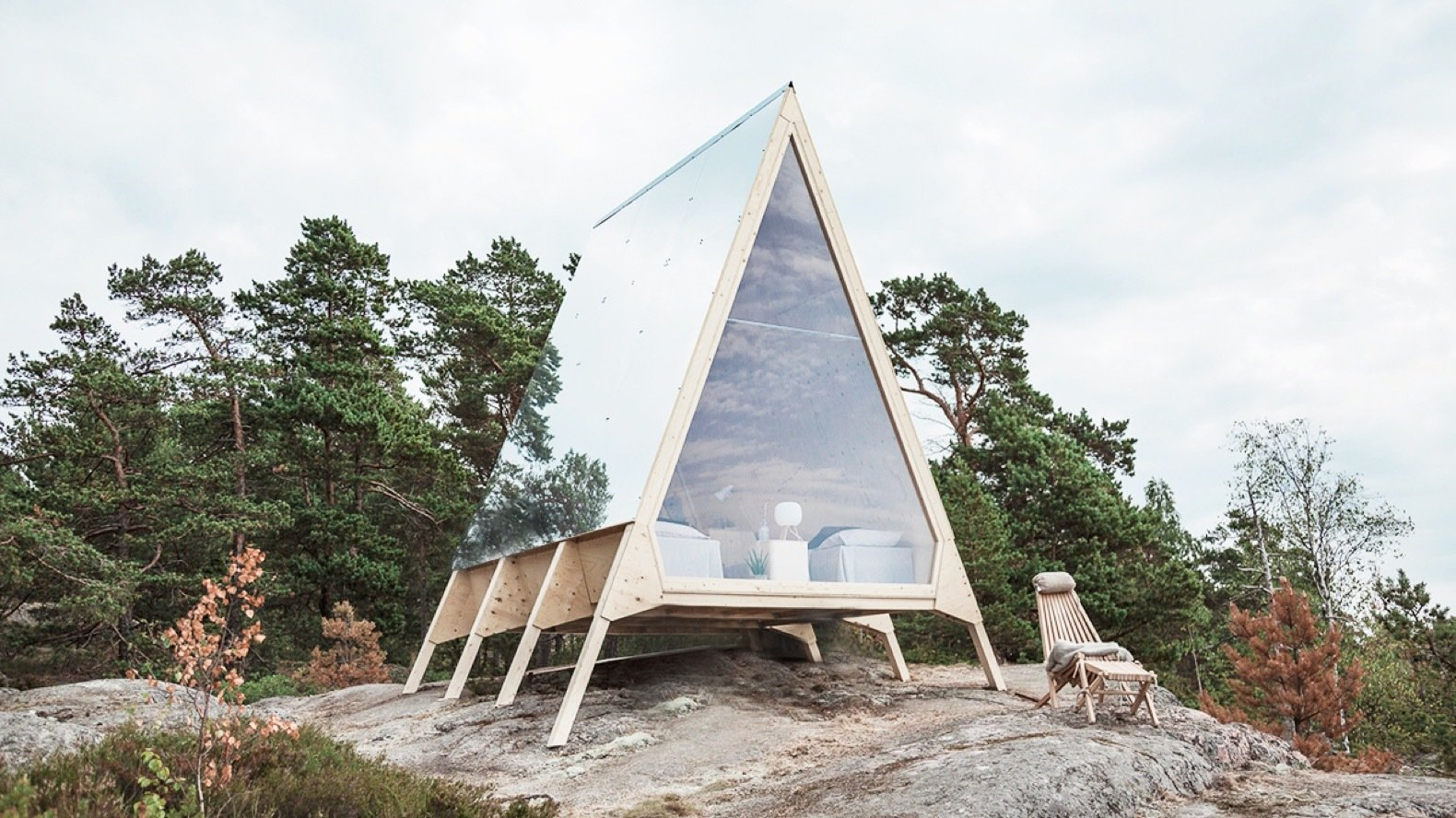 Exterior, Cabin Building Type, Wood Siding Material, and A-Frame RoofLine The Nolla Cabin was primarily built from Kerto LVL, a lightweight and durable Finnish plywood. It was then fastened together with screws.    Photo 7 of 10 in An A-Frame Cabin Celebrates the Zero-Emission Lifestyle in Finland