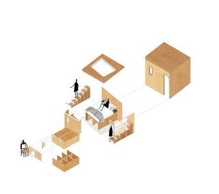 An exploded diagram of the bedroom unit. Note the exterior storage, which includes a wooden surface that flips up to create a tabletop for dining.
