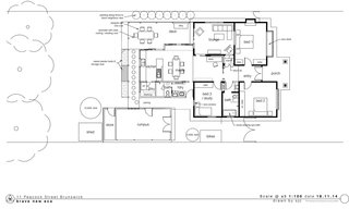 Here's a look at the floor plan. Note the central axis that allows views of the backyard to be seen from the porch.