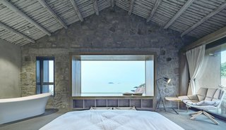 The master bedroom overlooks panoramic views of the East China Sea.