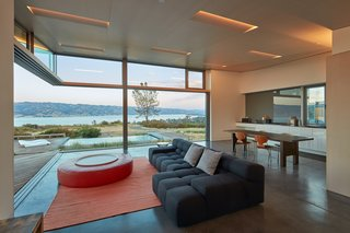 Pocket-sliding glass doors offer seamless connection to the outdoors.