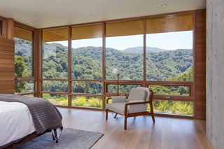 The master bedroom boasts spectacular south-facing views of the valley.