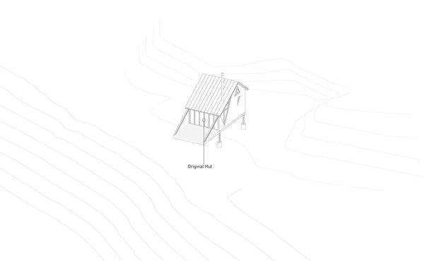A diagram of La Cabañita's original small hut raised on a cantilevered platform.