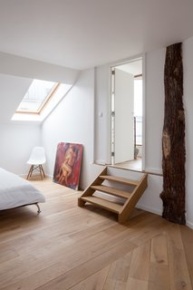Two bedrooms are located in the attic.