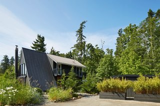 Next to the A-frame sits a low-lying outbuilding (partially concealed by vegetation) that was converted from a garage into a woodshed and artist's studio.
