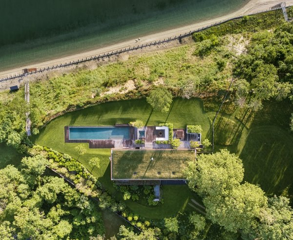 A bird's eye view of the home, which sits on five acres of bluff top.