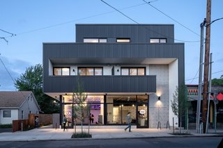 Flooded with natural light, Makers Row is a new mixed-use building in Northeast Portland that combines 19 apartments with ground-floor commercial space in a highly energy-efficient envelope.