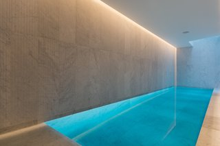 The swimming pool is located on the lowest level of the house along with a hot tub, steam room, yoga room, and gallery space.