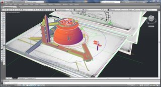 Romero imported the plans, sections, elevations and drawings into AutoCAD and used Autodesk 3DS Max, with the RailClone plugin, to create the spiral.