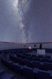 A rendering of the inner rows of seating in the planetarium.