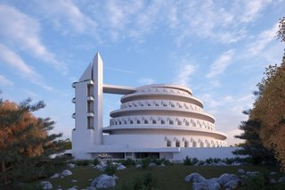 The building was envisioned to house a thousand people and include kitchen and service facilities, a theater with two dance floors, 30 bedrooms for overnight guests and staff, picnicking facilities, and a massive domed planetarium at the center.