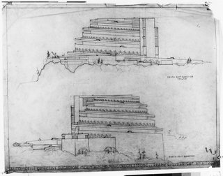 Southeast and northwest elevations of the automobile objective