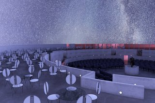 A rendering of the immense planetarium that Wright designed for the heart of the Gordon Strong automobile objective.