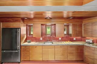 All woodwork was custom-built to Wright's specifications from African mahogany.