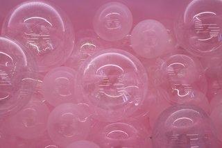 "A close up of the bathtub ""soap bubbles."""