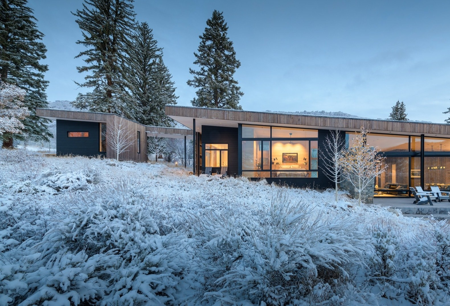Set on an east-west axis, the home stays cool with shading south-facing glass, minimal west-facing glass, and operable windows that allow for natural ventilation. Energy recovery ventilators also bring fresh air into the home.