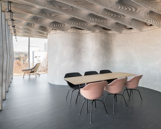 The ribbed Smart Slab ceiling combines the structural strength of concrete with the flexibility of 3D printing—and it's less than half the weight of a conventional concrete slab.