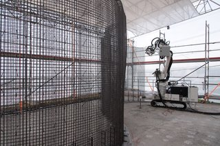 A close-up of a prototype Mesh Mould wall fabricated by the In Situ Fabricator robot.