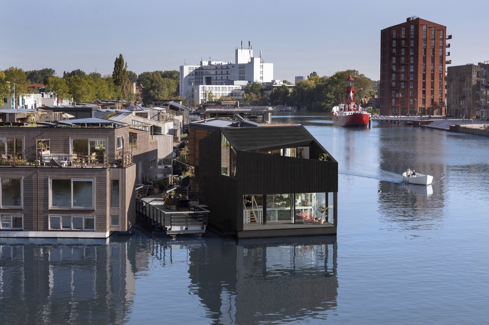 Schoonschip floating home exterior
