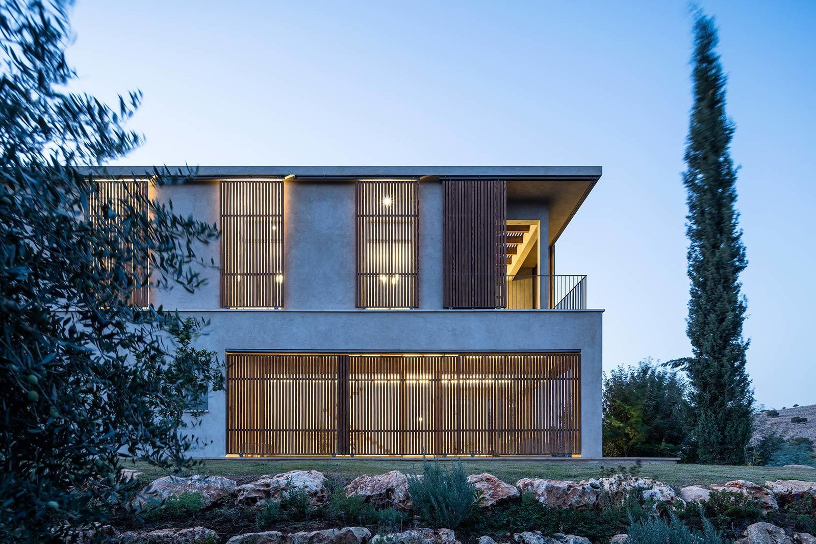 Exterior, House, Farmhouse, Stucco, Flat, Wood, and Concrete  Best Exterior Farmhouse Wood Concrete Photos from Residence in the Galilee