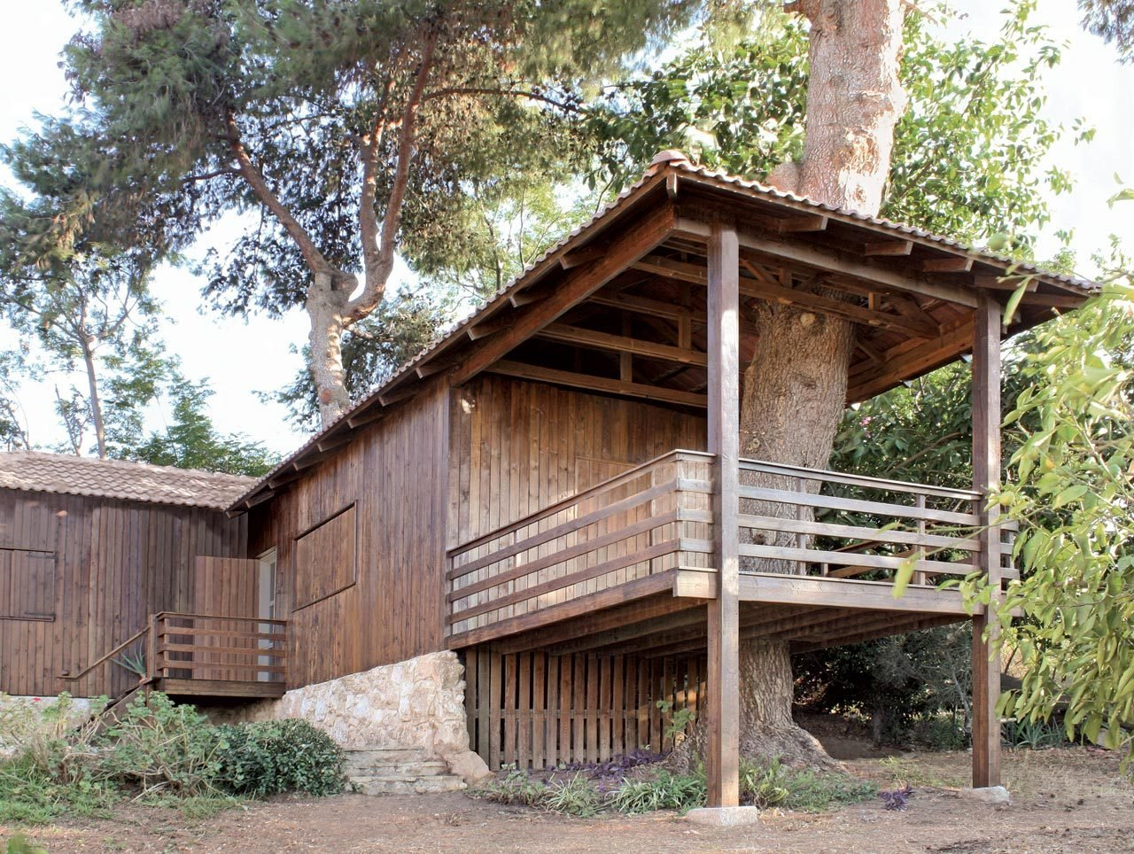 Exterior, House, Tile, Wood, Metal, Hipped, Prefab, Green, and Green  Exterior Metal House Hipped Photos from Two-Tree House