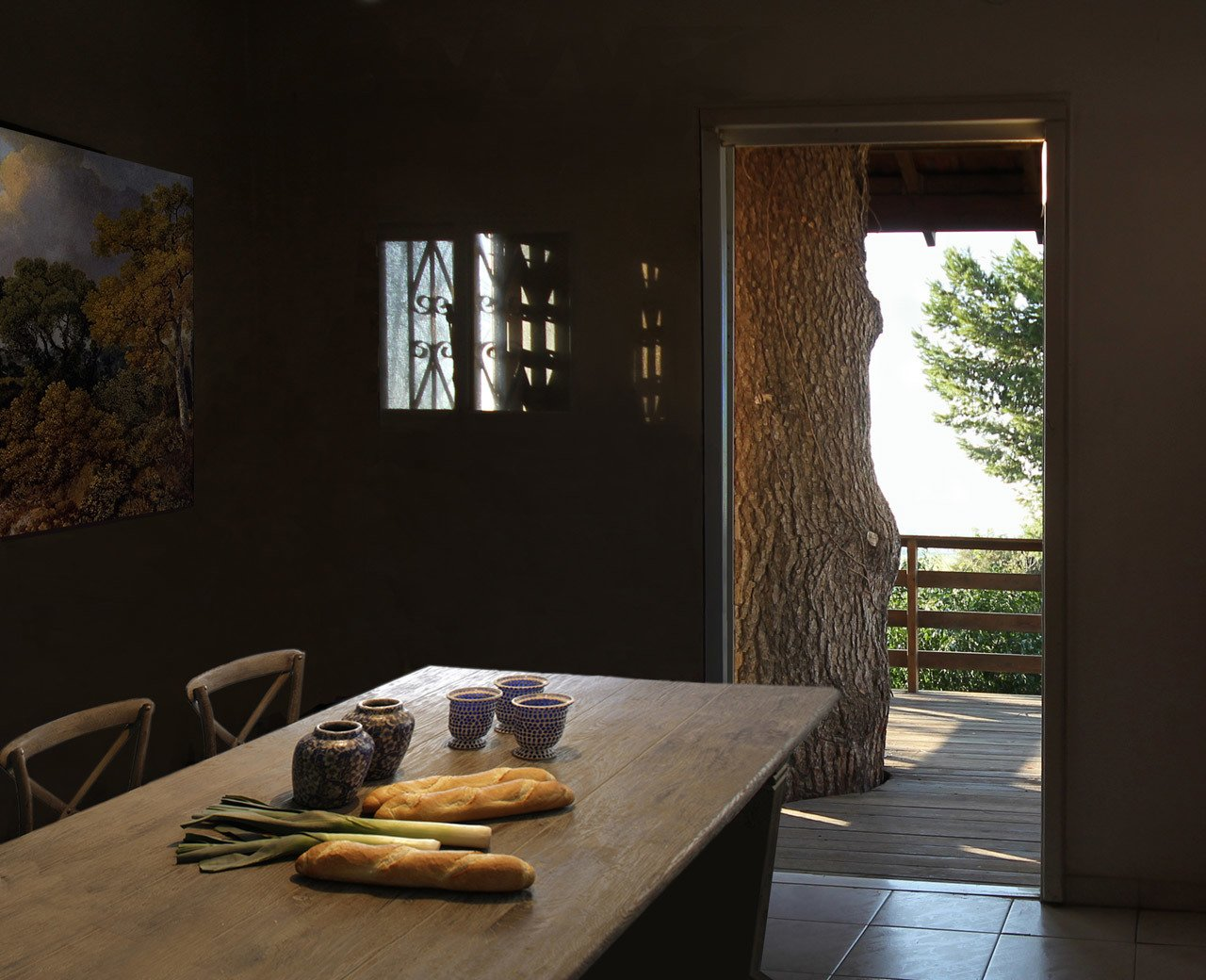 Dining, Chair, Table, Accent, Recessed, and Ceramic Tile  Best Dining Ceramic Tile Recessed Photos from Two-Tree House