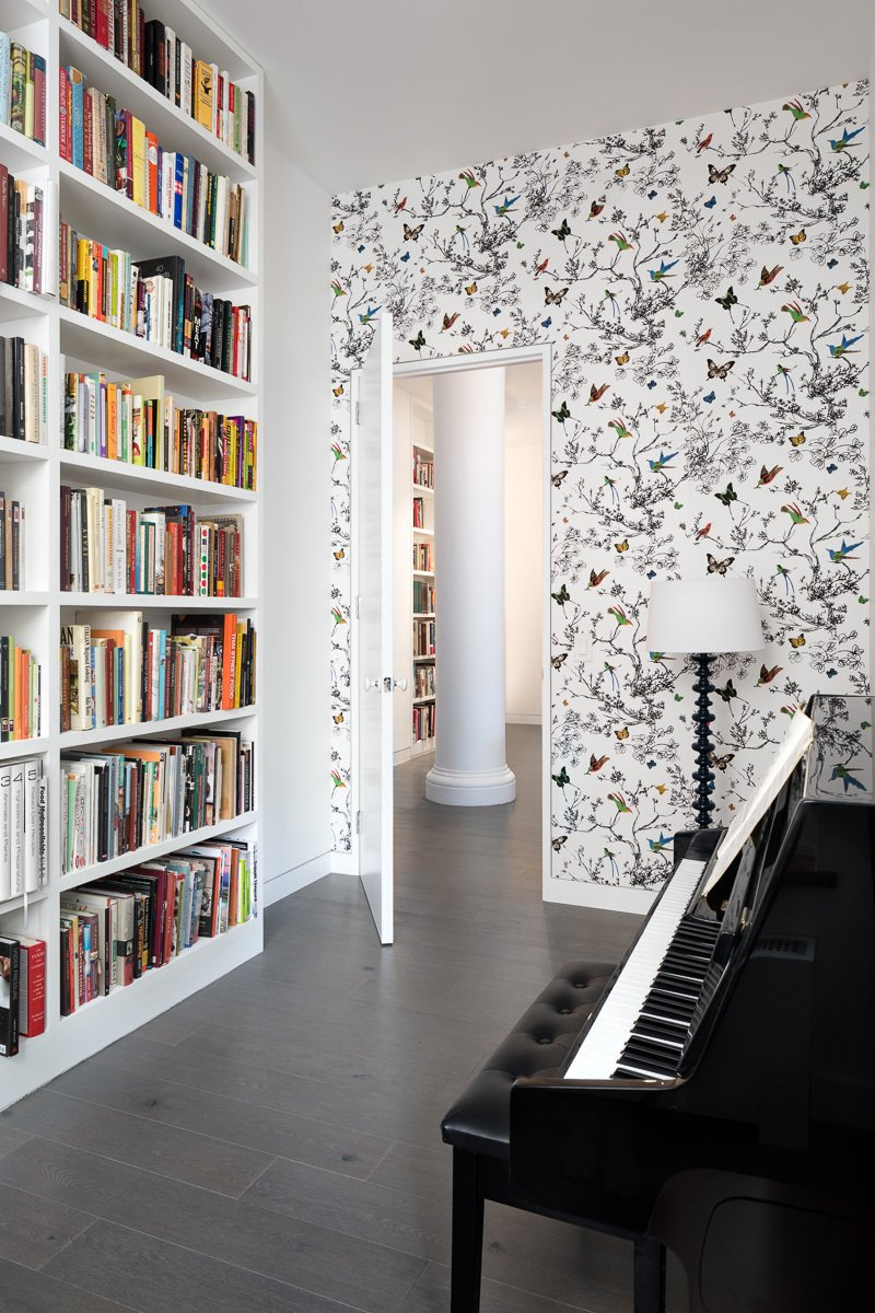 Office, Library Room Type, Study Room Type, Dark Hardwood Floor, and Bookcase  5th Avenue Apartment by Verona Carpenter Architects