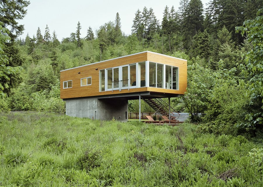 Exterior, House Building Type, Green Roof Material, Wood Siding Material, and Flat RoofLine  Neal Creek