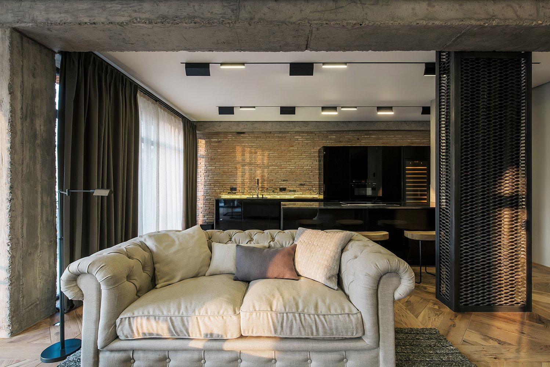 Kitchen and Medium Hardwood Floor  Rustic style apartment in Georgia by YODEZEEN