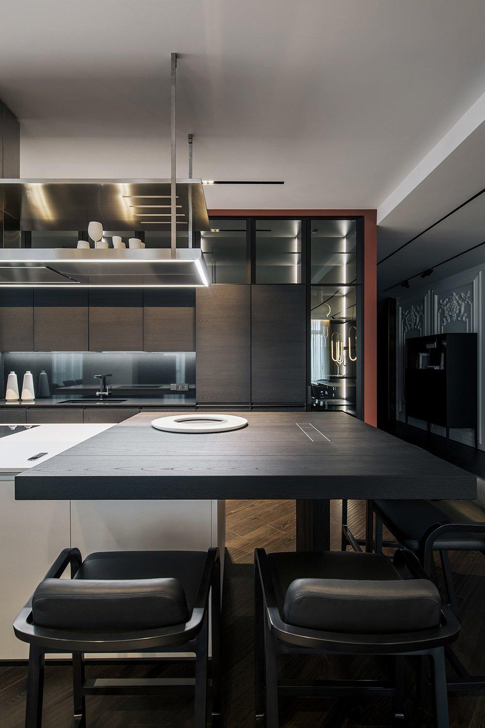 Kitchen, Cooktops, Beverage Center, Wood, Wood, Colorful, and Dark Hardwood  Best Kitchen Wood Wood Dark Hardwood Photos from Diamond apartment