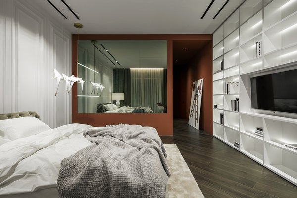 Kids Room, Bed, Bookcase, Storage, Shelves, Medium Hardwood Floor, Carpet Floor, and Rug Floor  Best Photos from Diamond apartment