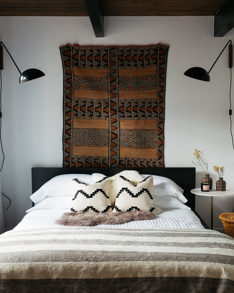 Bedroom, Bed, Night Stands, and Wall Lighting  Big Bear A-Frame Receives Boho Eclectic Transformation